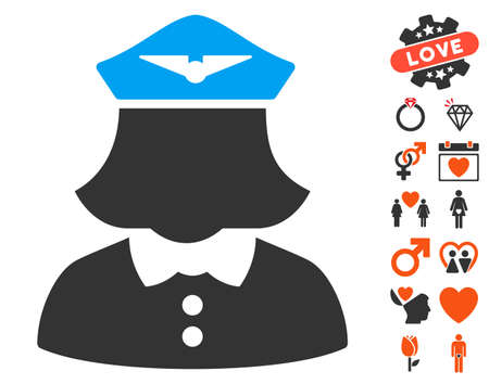 Airline Stewardess icon with bonus romantic clip art. Vector illustration style is flat iconic symbols for web design, app user interfaces.