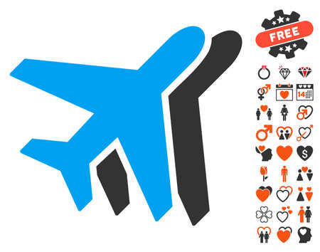 Airlines pictograph with bonus amour symbols. Vector illustration style is flat iconic elements for web design, app user interfaces.