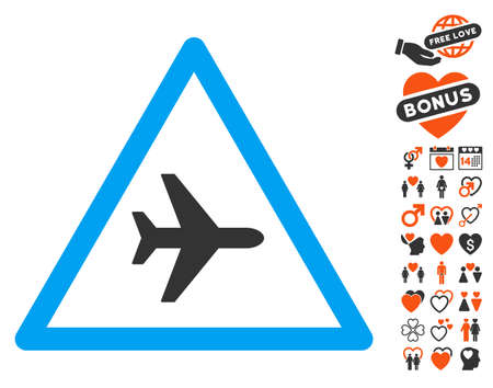 Airplane Danger icon with bonus decorative images. Vector illustration style is flat iconic symbols for web design, app user interfaces.