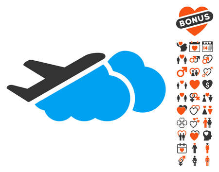 Airplane Over Clouds pictograph with bonus lovely clip art. Vector illustration style is flat iconic symbols for web design, app user interfaces.