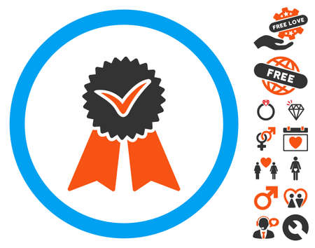 Approvement Seal icon with bonus valentine pictograms. Vector illustration style is flat iconic elements for web design, app user interfaces.