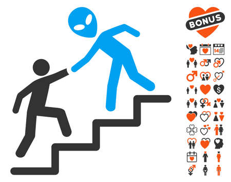 upstairs: Alien Training Help pictograph with bonus valentine design elements. Vector illustration style is flat iconic elements for web design, app user interfaces.