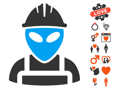 invader: Alien Worker pictograph with bonus passion symbols. Vector illustration style is flat iconic elements for web design, app user interfaces.