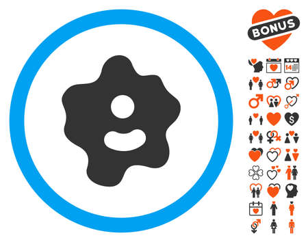 Ameba pictograph with bonus amour pictograms. Vector illustration style is flat iconic elements for web design, app user interfaces.
