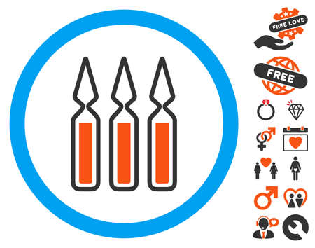 Ampoules pictograph with bonus romantic clip art. Vector illustration style is flat iconic symbols for web design, app user interfaces.