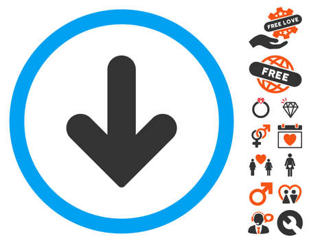 Arrow Down icon with bonus dating pictograph collection. Vector illustration style is flat iconic symbols for web design, app user interfaces.
