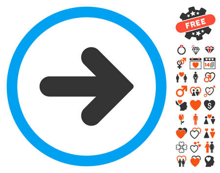 Arrow Right icon with bonus amour images. Vector illustration style is flat iconic symbols for web design, app user interfaces.