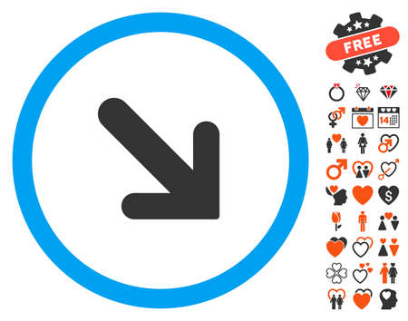 Arrow Right Down pictograph with bonus romantic pictograph collection. Vector illustration style is flat iconic elements for web design, app user interfaces. Illustration