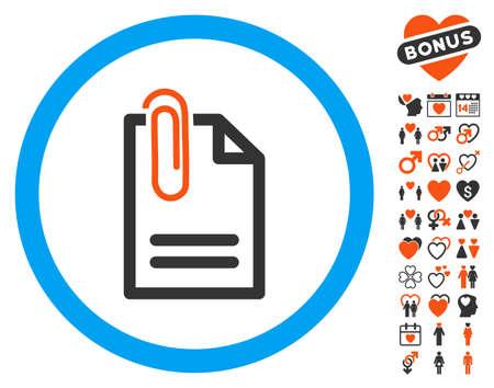 Attach Document pictograph with bonus decoration pictograph collection. Vector illustration style is flat iconic elements for web design, app user interfaces. Ilustração Vetorial
