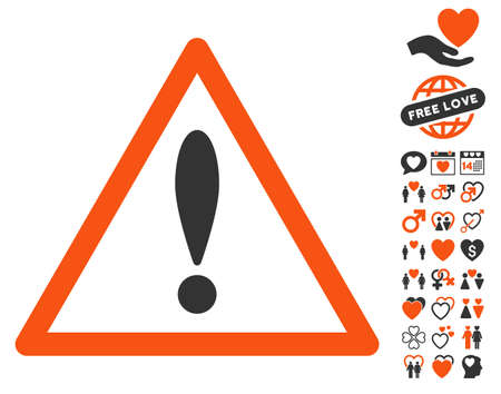 Attention Triangle icon with bonus decorative graphic icons. Vector illustration style is flat iconic symbols for web design, app user interfaces. Illustration