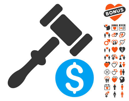 courthouse: Auction pictograph with bonus decoration icon set. Vector illustration style is flat iconic symbols for web design, app user interfaces.