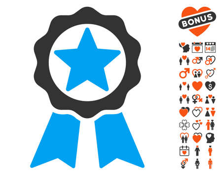 Award pictograph with bonus romantic pictures. Vector illustration style is flat iconic elements for web design, app user interfaces.