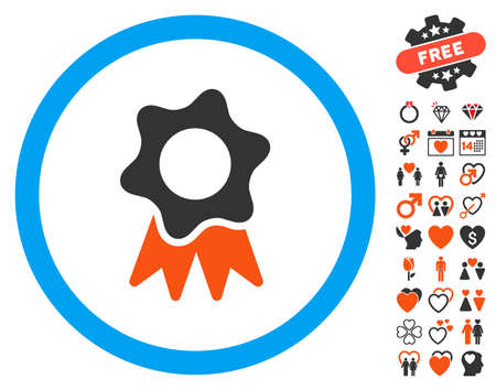 Award Seal pictograph with bonus amour design elements. Vector illustration style is flat iconic elements for web design, app user interfaces.