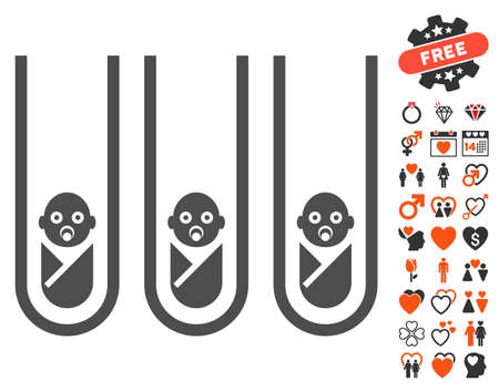 clonacion: Baby Cloning Test-Tubes pictograph with bonus decoration pictures. Vector illustration style is flat iconic elements for web design, app user interfaces.