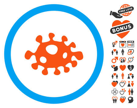 Bacteria pictograph with bonus decoration symbols. Vector illustration style is flat iconic symbols for web design, app user interfaces.