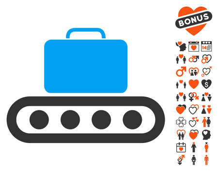 rollers: Baggage Conveyor pictograph with bonus decoration design elements. Vector illustration style is flat iconic symbols for web design, app user interfaces.
