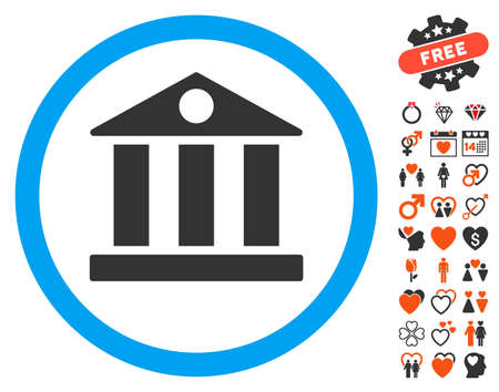 Bank pictograph with bonus decorative clip art. Vector illustration style is flat iconic symbols for web design, app user interfaces.