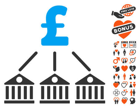 bank branch: Bank Pound Expenses pictograph with bonus amour graphic icons. Vector illustration style is flat iconic elements for web design, app user interfaces. Illustration