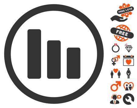 descending: Bar Chart Decrease pictograph with bonus decorative design elements. Vector illustration style is flat iconic symbols for web design, app user interfaces.