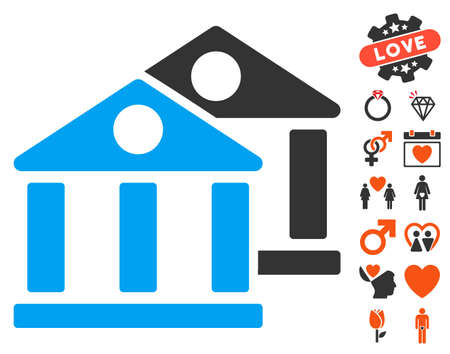 Banks pictograph with bonus valentine pictures. Vector illustration style is flat iconic symbols for web design, app user interfaces. Illustration