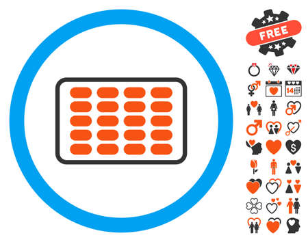 a tablet blister: Blister icon with bonus dating graphic icons. Vector illustration style is flat iconic symbols for web design, app user interfaces. Illustration