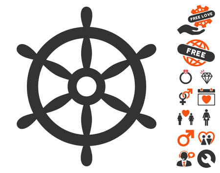 Boat Steering Wheel pictograph with bonus lovely icon set. Vector illustration style is flat iconic symbols for web design, app user interfaces.