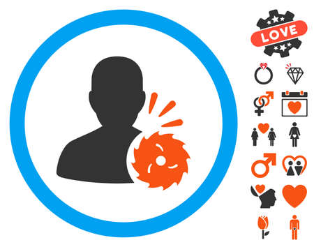 dissection: Body Execution pictograph with bonus marriage graphic icons. Vector illustration style is flat iconic elements for web design, app user interfaces.