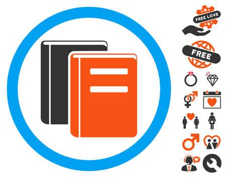 Books icon with bonus romantic icon set. Vector illustration style is flat iconic symbols for web design, app user interfaces.