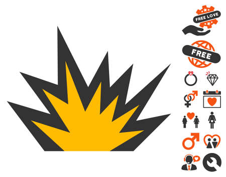 Boom Explosion pictograph with bonus lovely symbols. Vector illustration style is flat iconic elements for web design, app user interfaces.