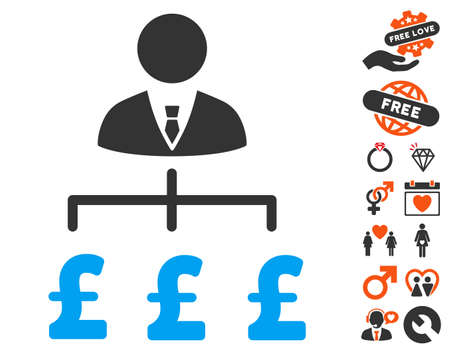 Boss Pound Payments pictograph with bonus valentine pictograms. Vector illustration style is flat iconic elements for web design, app user interfaces. Illustration