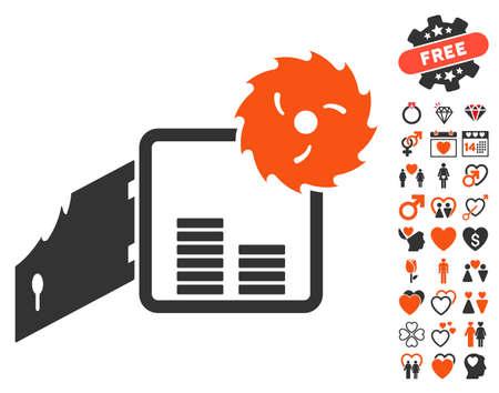 Broken Bank Safe icon with bonus romantic design elements. Vector illustration style is flat iconic symbols for web design, app user interfaces. Illustration
