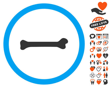Bone icon with bonus marriage pictures. Vector illustration style is flat iconic elements for web design, app user interfaces. Illustration