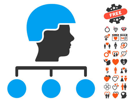 command structure: Builder Management Links icon with bonus romantic clip art. Vector illustration style is flat iconic symbols for web design, app user interfaces. Illustration