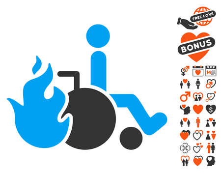 Burn Patient pictograph with bonus marriage images. Vector illustration style is flat iconic symbols for web design, app user interfaces.