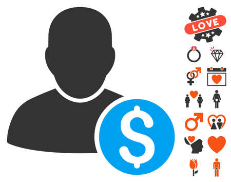 moneymaker: Businessman icon with bonus lovely graphic icons. Vector illustration style is flat iconic elements for web design, app user interfaces.