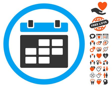 Calendar pictograph with bonus lovely pictograph collection. Vector illustration style is flat iconic symbols for web design, app user interfaces.