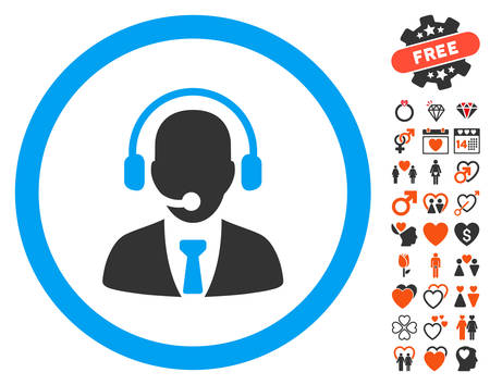 Call Center Manager pictograph with bonus decoration images. Vector illustration style is flat iconic symbols for web design, app user interfaces.