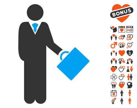 stockbroker: Businessman icon with bonus love graphic icons. Vector illustration style is flat iconic elements for web design, app user interfaces. Illustration