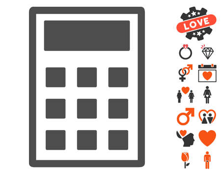 adder: Calculator icon with bonus dating pictograph collection. Vector illustration style is flat iconic symbols for web design, app user interfaces.