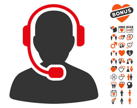 talker: Call Center Operator pictograph with bonus romantic design elements. Vector illustration style is flat iconic symbols for web design, app user interfaces.