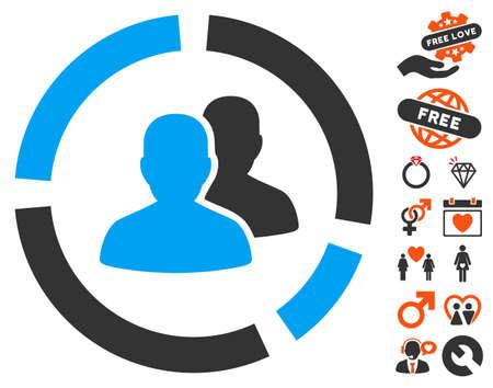 demografia: pictograma Diagrama Demografía con el clip de bonificación que data del arte. estilo de ilustración vectorial elementos icónicos es plana para el diseño web, interfaces de usuario de aplicaciones.