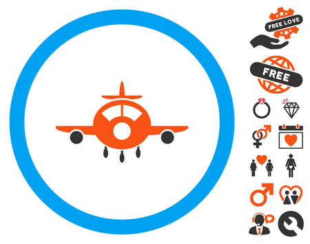 usaf: Aircraft pictograph with bonus romantic graphic icons. Vector illustration style is flat iconic elements for web design, app user interfaces.