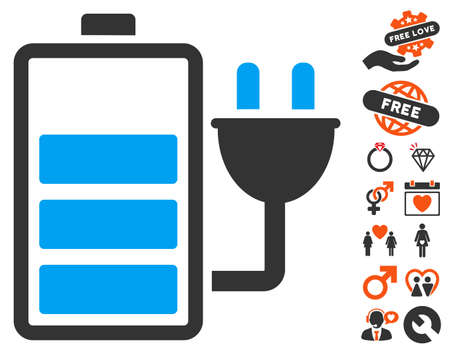 plugin: Charge Battery pictograph with bonus decorative images. Vector illustration style is flat iconic symbols for web design, app user interfaces. Illustration