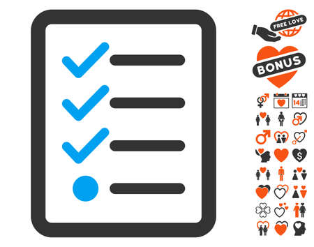 numerate: Checklist icon with bonus decoration graphic icons. Vector illustration style is flat iconic symbols for web design, app user interfaces. Illustration