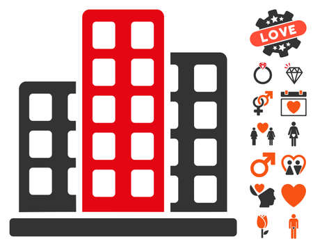 burg: City icon with bonus amour design elements. Vector illustration style is flat iconic elements for web design, app user interfaces. Illustration