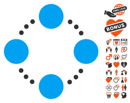 Circular Relations pictograph with bonus decoration clip art. Vector illustration style is flat iconic symbols for web design, app user interfaces.
