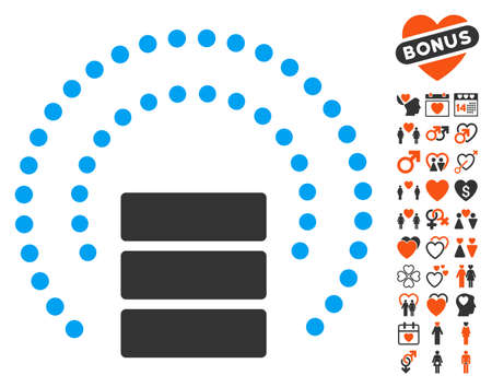 Database Sphere Shield pictograph with bonus decoration icon set. Vector illustration style is flat iconic elements for web design, app user interfaces.