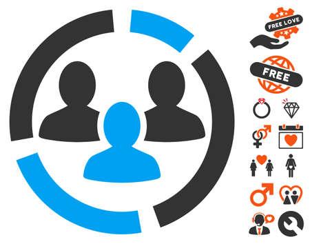 demografia: Demografía Icono de diagrama con símbolos decorativos de bonificación. El estilo de la ilustración del vector es los elementos icónicos planos para el diseño de la tela, interfaces de usuario de la aplicación.