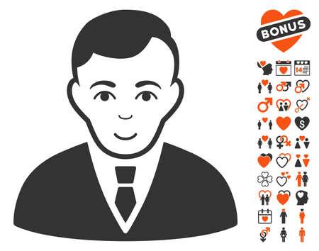 office romance: Manager icon with bonus decoration icon set. Vector illustration style is flat iconic symbols for web design, app user interfaces. Illustration