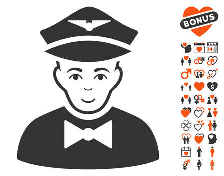 Airline Steward pictograph with bonus passion pictures. Vector illustration style is flat iconic elements for web design, app user interfaces. Illustration
